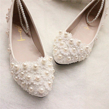 Wedding Lace White Bead Pearl Flower Bridals Flat Shoes