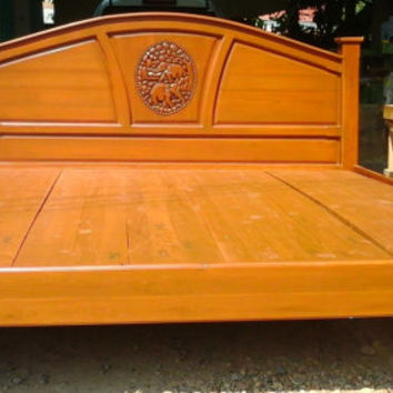 King & Queen size carving teak wood platform bed frame design with elephants details.