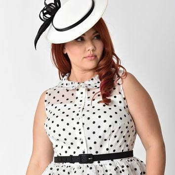 Unique Vintage White Satin & Black Feather Disc Fascinator Hat