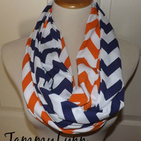 NEW!! Orange and Navy Chevron LONG 2 Pair Team Game Day DENVER Broncos Scarves Jersey Knit Infinity Scarves