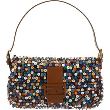Multicolor Beaded And Sequined Baguette Bag