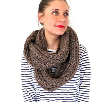 Chunky Soft Crochet Knit Infinity Scarf Cowl // Boundless Scarf in Woodland // Many Colors and Vegan Options Available