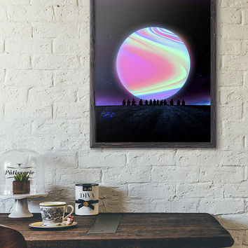 Sci-Fi Wall Art Poster Print / Futuristic Cyberpunk Sunset Planet Living Room Decor / Retro Universe Neon Space Printable Painting Digital