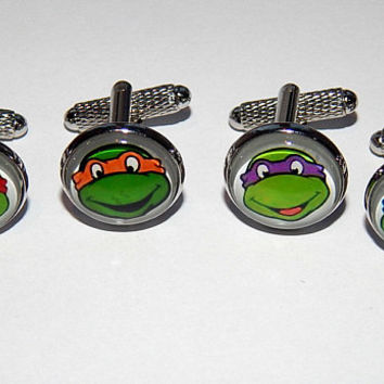 Teenage Mutant Ninja Turtle cufflinks, Mutant Ninja Turtle jewelry, Comic Superhero Cuff link movie, Wedding Groomsman cufflinks jewelry