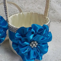Ivory Flower Girl Basket with a Turquoise Satin Flower and Rhinestone Mesh handle and Trim, Custom Made to Order
