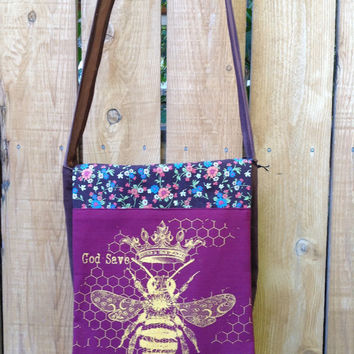 Handy Hip Bag Cross Body Shoulder Bag God Save the Queen Bee Screenprinted Flap