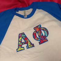 Alpha Phi Lilly Baseball T-Shirt in Size Extra Small