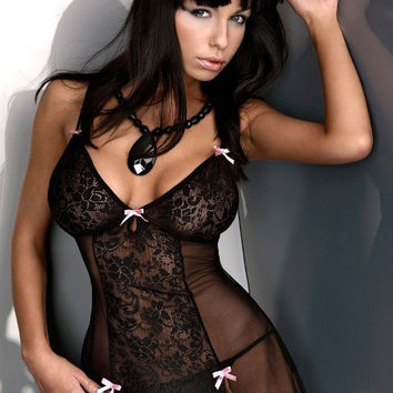 Floral Lace Side Slit Baby-doll Lingerie