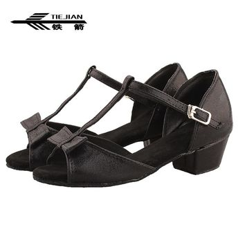 TIEJIAN Ballroom Dance Shoes High Quality Woman Latin Dancing Shoes Girls Low Heel Salsa Sandal zapatos de baile Latino mujer 37