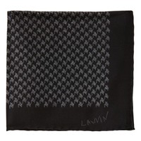 Men's Lanvin Houndstooth Silk Pocket Square - Black