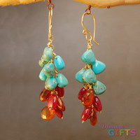 "Clusters of turquoise, ruby, and mandaringarnet, 1-1/2"" Earring Gold Or Silver"