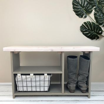 The Putnam Entryway Bench - Solid Wood, Handmade Entryway Bench with Shoe Storage