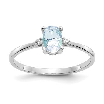 14k or 10k White Gold Diamond & Genuine Aquamarine March Birthstone Ring