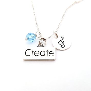 Create Charm - Personalized Swarovski Crystal Birthstone and Hand Stamped Initial Sterling Silver Necklace