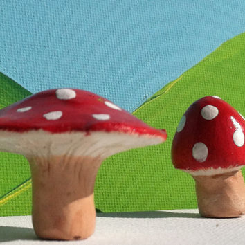 Red Dreamy Mushroom Totems - SET OF TWO - Clay Mushroom Miniatures - Handpainted Shroom Totems