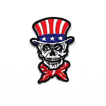 USA Flag Skull Punk Applique Iron on Patch