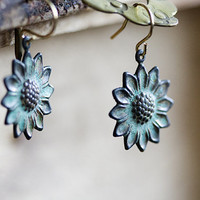Patina Flower Earrings Verdigris Sunflower Earrings Floral Dangles Turquoise Earrings Nature Inspired - E265