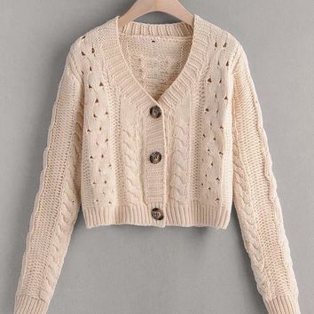 Button Through Cable Knit Crop Cardigan