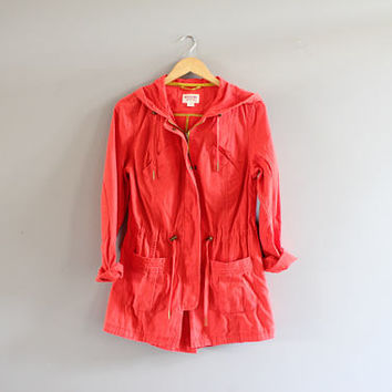 Coral Orange Soft Denim Parka Jacket Waist Drawstring Hooded Denim Jacket Unisex Vintage 90s Size M #O145A