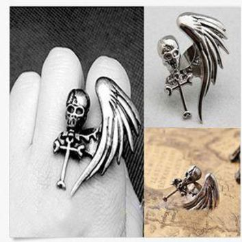 Fashion Women Jewelry Vintage Punk Rock Gothic Skull Wing Cross Adjustable Ring