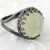 Mint seafoam Prehnite ring, Gemstone ring, Oxidized Stering silver ring, Birthstone ring, black silver ring, cocktail ring, mint green ring