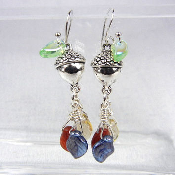 Silver acorn earrings with wire wrapped glass leaf charms in rust blue & gold- fall jewelry