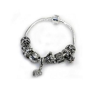 "7"" Love Story Charm Bracelet Pandora Style, Snake chain bracelet and charms as picture"