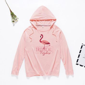 KPOP BTS Bangtan Boys Army Pink Flamingo Sweatshirt Women 2018 Autumn Thin Hoodies Pullovers Long Sleeves Tee Shirt Tops Harajuku Animal Printed  Shirts AT_89_10