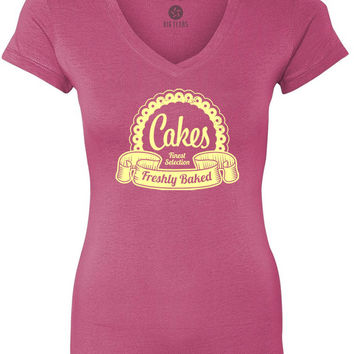 Finest Selection Cakes (Yellow) Women's Short-Sleeve V-Neck T-Shirt