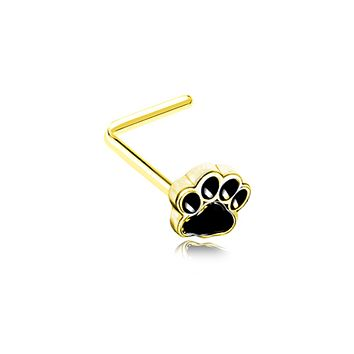 Golden Animal Lover Paw Print WildKlass L-Shape Nose Ring