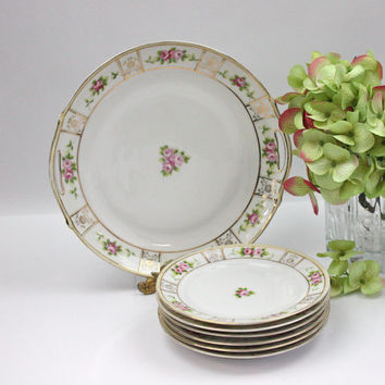 Nippon Dessert Set / Pink Roses / Cake & 6 Dessert Plates / Tea Time China