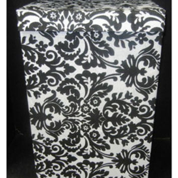 Black Damask Laundry Hamper