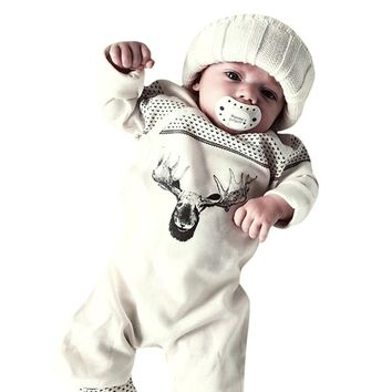 MUQGEW Funny Baby Clothes Deer Romper Jumpsuit Playsuit Outfits Christmas Pajamas Costume Baby Kid Roupa Menina QZ06