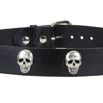 "Skull Black Leather Belt 2"" Wide"
