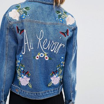 New Look Souvenir Denim Jacket With Embroidery