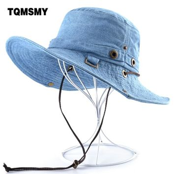 TQMSMY Solid color denim sun Hats for Men Wide Brim Bob cap Casual women Fishing caps men's cotton Bucket hat man Cowboy hat