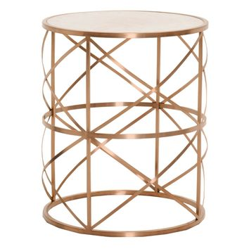 Melrose Round End Table Brushed Rose Gold