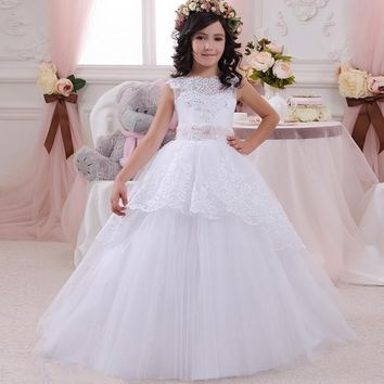 White Lace Ball Gowns Wedding Gowns For Flower Girls Beaded Tulle Elegant White First Communion Dresses For Girls