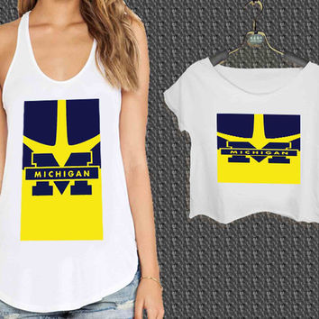 University of Michigan logo For Woman Tank Top , Man Tank Top / Crop Shirt, Sexy Shirt,Cropped Shirt,Crop Tshirt Women,Crop Shirt Women S, M, L, XL, 2XL*NP*