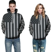 3D Printed American Flag Hoodies Sweatshirt