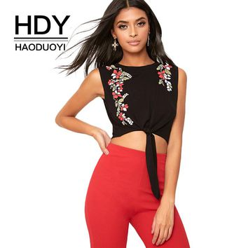 Black Sexy Crop Tops Floral Print Asymmetry O-neck Tie Drape Lady Tees Casual Elegant T-shirt
