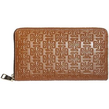 Tory Burch Embossed T Zip Continental Wallet Leather BARK