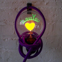 I LOVE YOU Light Bulb Pendant Lamp with Purple Cloth Cord - ESW Valentine