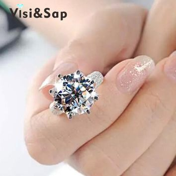 Visisap White Gold Color ring 8 Carat Crown AAA cubic zircon Wedding Rings For Women Luxury size 5-11 fashion jewelry VSR064