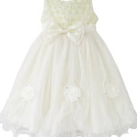 Sunny Fashion Girls Dress Rose Flower Cream Wedding Pageant Party