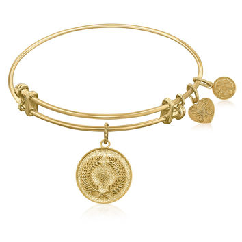 Expandable Bangle in Yellow Tone Brass with Laurel Wreath Peace Victory Symbol