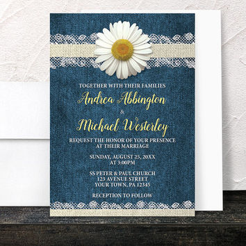 Daisy Wedding Invitations - Burlap Lace Rustic Country Yellow Floral and Blue Denim design with Beige and White - Printed Invitations