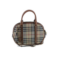 Burberry Womens Orchard Leather Horsefferry Check Bowler Handbag