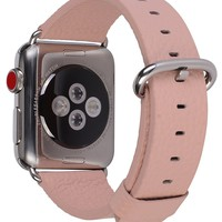 Apple Watch Band 38mm Women - PEAK ZHANG Pink Genuine Leather Replacement Wrist Strap with Stainless Metal Adapter Clasp for Iwatch Series 3,Series 2,Series 1,Sport,Edition (38mm Pink+Silver Buckle)