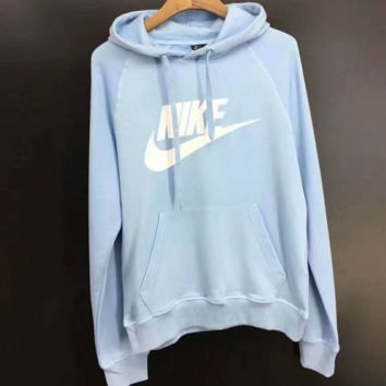 NIKE Fashion Casual Loose Long Print Long Sleeve Hooded Loose Sweater